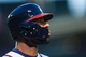 Sep 23, 2013; Atlanta, GA, USA; Atlanta Braves right fielder Jason Heyward (22) wears a jaw protector on his batting helmet in the first inning against the Milwaukee Brewers at Turner Field. Mandatory Credit: Daniel Shirey-USA TODAY Sports