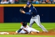 Sep 23, 2013; Atlanta, GA, USA; Milwaukee Brewers third baseman Jeff Bianchi (14) attempts to turn a double play over Atlanta Braves shortstop Andrelton Simmons (19) in the seventh inning at Turner Field. Mandatory Credit: Daniel Shirey-USA TODAY Sports