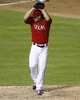 Sep 23, 2013; Arlington, TX, USA; Texas Rangers starting pitcher Derek Holland (45) delivers a pitch to the Houston Astros during the ninth inning of a baseball game at Rangers Ballpark in Arlington. Holland pitched nine innings of shut-out baseball beating the Astros 12-0. Mandatory Credit: Jim Cowsert-USA TODAY Sports