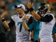 Aug 24, 2013; Jacksonville, FL, USA; Jacksonville Jaguars quarterbacks Chad Henne (7) and Mike Kafka (3) gesture in the fourth quarter of their game against the Philadelphia Eagles at EverBank Field. The Philadelphia Eagles beat the Jacksonville Jaguars 31-24. Mandatory Credit: Phil Sears-USA TODAY Sports