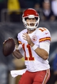 Sep 19, 2013; Philadelphia, PA, USA; Kansas City Chiefs quarterback Alex Smith (11) looks to pass during the fourth quarter against the Philadelphia Eagles at Lincoln Financial Field. The Chiefs defeated the Eagles 26-16. Mandatory Credit: Howard Smith-USA TODAY Sports