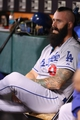 Sep 24, 2013; San Francisco, CA, USA; Los Angeles Dodgers relief pitcher Brian Wilson (00) in the dugout after pitching an inning against the San Francisco Giants during the eighth inning at AT&T Park. Mandatory Credit: Kelley L Cox-USA TODAY Sports