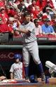 Sep 25, 2013; Cincinnati, OH, USA; New York Mets starting pitcher Daisuke Matsuzaka prepares on deck during a game against the Cincinnati Reds at Great American Ball Park. Mandatory Credit: David Kohl-USA TODAY Sports