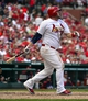 Sep 25, 2013; St. Louis, MO, USA; St. Louis Cardinals first baseman Matt Adams (53) hits a solo home run against the Washington Nationals during the sixth inning at Busch Stadium. The Cardinals defeated the Nationals 4-1. Mandatory Credit: Scott Rovak-USA TODAY Sports