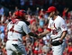 Sep 25, 2013; St. Louis, MO, USA; St. Louis Cardinals catcher Yadier Molina (4) and Cardinals relief pitcher Trevor Rosenthal (26) celebrate their victory over the Washington Nationals at Busch Stadium. The Cardinals defeated the Nationals 4-1. Mandatory Credit: Scott Rovak-USA TODAY Sports