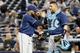 Sep 25, 2013; Bronx, NY, USA;  Tampa Bay Rays relief pitcher Alex Torres (54) and catcher Jose Molina (28) celebrate the win against the New York Yankees at Yankee Stadium. Rays won 8-3.  Mandatory Credit: Anthony Gruppuso-USA TODAY Sports