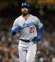 Sep 25, 2013; San Francisco, CA, USA; Los Angeles Dodgers center fielder Matt Kemp (27) scores a run against the San Francisco Giants during the sixth inning at AT&T Park. Mandatory Credit: Ed Szczepanski-USA TODAY Sports