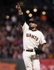 Sep 25, 2013; San Francisco, CA, USA; San Francisco Giants relief pitcher Sergio Romo (54) signals a pop fly during the ninth inning of the game against the Los Angeles Dodgers at AT&T Park. The San Francisco Giants defeated the Los Angeles Dodgers 6-4. Mandatory Credit: Ed Szczepanski-USA TODAY Sports