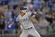 Sep 21, 2013; Kansas City, MO, USA; Texas Rangers pitcher Joe Nathan (36) delivers a pitch against the Kansas City Royals during the ninth inning at Kauffman Stadium. Mandatory Credit: Peter G. Aiken-USA TODAY Sports