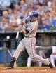 Sep 21, 2013; Kansas City, MO, USA; Texas Rangers first basemen Mitch Moreland (18) at bat against the Kansas City Royals during the third inning at Kauffman Stadium. Mandatory Credit: Peter G. Aiken-USA TODAY Sports
