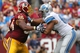 Sep 22, 2013; Landover, MD, USA; Washington Redskins guard Chris Chester (66) blocks Detroit Lions defensive tackle Ndamukong Suh (90) at FedEx Field. Mandatory Credit: Geoff Burke-USA TODAY Sports