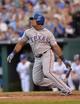 Sep 21, 2013; Kansas City, MO, USA; Texas Rangers third basemen Adrian Beltre (29) at bat against the Kansas City Royals during the third inning at Kauffman Stadium. Mandatory Credit: Peter G. Aiken-USA TODAY Sports