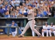 Sep 21, 2013; Kansas City, MO, USA; Texas Rangers catcher A.J. Pierzynski (12) at bat against the Kansas City Royals during the third inning at Kauffman Stadium. Mandatory Credit: Peter G. Aiken-USA TODAY Sports