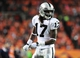 Sep 23, 2013; Denver, CO, USA; Oakland Raiders wide receiver Denarius Moore (17) during the game against the Denver Broncos at Sports Authority Field at Mile High. Mandatory Credit: Chris Humphreys-USA TODAY Sports