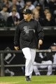 Sep 26, 2013; Chicago, IL, USA; Chicago White Sox manager Robin Ventura (23) walks toward the mound to talk with Chicago White Sox relief pitcher Donnie Veal (not pictured) during the seventh inning at U.S Cellular Field. Kansas City defeats Chicago 3-2. Mandatory Credit: Mike DiNovo-USA TODAY Sports
