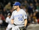 Sep 26, 2013; Chicago, IL, USA; Kansas City Royals relief pitcher Greg Holland (56) reacts after getting the save against the Chicago White Sox at U.S Cellular Field. Kansas City defeats Chicago 3-2. Mandatory Credit: Mike DiNovo-USA TODAY Sports