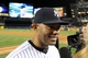 Sep 26, 2013; Bronx, NY, USA; New York Yankees relief pitcher Mariano Rivera (42) is interviewed after his final home game against the Tampa Bay Rays at Yankee Stadium. Mandatory Credit: Brad Penner-USA TODAY Sports