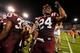 Sep 26, 2013; Atlanta, GA, USA; Virginia Tech Hokies linebacker Tariq Edwards (24) celebrates a win over the Georgia Tech Yellow Jackets at Bobby Dodd Stadium. Virginia Tech won 17-10. Mandatory Credit: Daniel Shirey-USA TODAY Sports