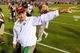 Sep 26, 2013; Atlanta, GA, USA; Virginia Tech Hokies head coach Frank Beamer celebrates a win over the Georgia Tech Yellow Jackets at Bobby Dodd Stadium. Virginia Tech won 17-10. Mandatory Credit: Daniel Shirey-USA TODAY Sports