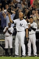 Sep 26, 2013; Bronx, NY, USA; New York Yankees relief pitcher Mariano Rivera (42) takes a curtain call after being removed from his final home game against the Tampa Bay Rays at Yankee Stadium. Mandatory Credit: Brad Penner-USA TODAY Sports