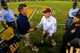Sep 26, 2013; Atlanta, GA, USA; Georgia Tech Yellow Jackets head coach Paul Johnson and Virginia Tech Hokies head coach Frank Beamer shake hands after the game at Bobby Dodd Stadium. Virginia Tech won 17-10. Mandatory Credit: Daniel Shirey-USA TODAY Sports