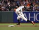 Sep 26, 2013; San Francisco, CA, USA; San Francisco Giants first baseman Brandon Belt (9) rounds second base after hitting a double during the eighth inning against the Los Angeles Dodgers at AT&T Park. The San Francisco Giants defeated the Los Angeles Dodgers 3-2. Mandatory Credit: Ed Szczepanski-USA TODAY Sports