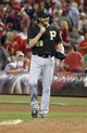 Sep 27, 2013; Cincinnati, OH, USA; Pittsburgh Pirates relief pitcher Jason Grilli reacts after the Pirates beat the Cincinnati Reds 4-1 at Great American Ball Park. Mandatory Credit: David Kohl-USA TODAY Sports
