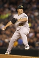 Sep 27, 2013; Seattle, WA, USA; Oakland Athletics pitcher Bartolo Colon (40) throws against the Seattle Mariners during the first inning at Safeco Field. Mandatory Credit: Joe Nicholson-USA TODAY Sports