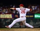 Sep 27, 2013; St. Louis, MO, USA; St. Louis Cardinals relief pitcher Trevor Rosenthal (26) delivers a pitch against the Chicago Cubs at Busch Stadium. The Cardinals defeated the Cubs 7-0 to win the National League Central Title. Mandatory Credit: Scott Rovak-USA TODAY Sports