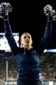 Sep 27, 2013; Provo, UT, USA; A Brigham Young Cougars cheerleader during the second half against the Middle Tennessee Blue Raiders at Lavell Edwards Stadium. Brigham Young won 37-10. Mandatory Credit: Russ Isabella-USA TODAY Sports