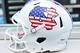 Sep 28, 2013; Chapel Hill, NC, USA; The North Carolina Tarheels helmets for military appreciation day against the East Carolina Pirates at Kenan Memorial Stadium. Mandatory Credit: Rob Kinnan-USA TODAY Sports