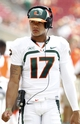 Sep 28, 2013; Tampa, FL, USA; Miami Hurricanes quarterback Stephen Morris (17) on the slidelines during the second half against the South Florida Bulls at Raymond James Stadium. Miami Hurricanes defeated the South Florida Bulls 49-21. Mandatory Credit: Kim Klement-USA TODAY Sports