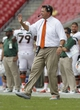 Sep 28, 2013; Tampa, FL, USA; Miami Hurricanes head coach Al Golden reacts during the second half against the South Florida Bulls at Raymond James Stadium. Miami Hurricanes defeated the South Florida Bulls 49-21. Mandatory Credit: Kim Klement-USA TODAY Sports