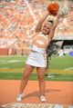 Sep 28, 2013; Knoxville, TN, USA; A Tennessee Volunteers cheerleader performs during the second half of the game against the South Alabama Jaguars at Neyland Stadium. Tennessee won 31 to 24. Mandatory Credit: Randy Sartin-USA TODAY Sports