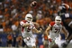 Sep 28, 2013; San Antonio, TX, USA; Houston Cougars quarterback John O'Korn (5) throws the ball  during the first half against the Texas-San Antonio Roadrunners at Alamodome. Mandatory Credit: Soobum Im-USA TODAY Sports