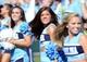 Sep 28, 2013; Chapel Hill, NC, USA; North Carolina Tarheels cheerleaders performs during a game against the East Carolina Pirates at Kenan Memorial Stadium.  ECU won 55-31. Mandatory Credit: Rob Kinnan-USA TODAY Sports