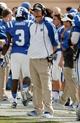 Sep 28, 2013; Durham, NC, USA;  Duke Blue Devils head coach David Cutcliffe on the sidelines against the Troy Trojans at Wallace Wade Stadium. Mandatory Credit: Mark Dolejs-USA TODAY Sports