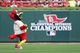 Sep 28, 2013; St. Louis, MO, USA; St. Louis Cardinals mascot Fredbird dances in the outfield before a game against the Chicago Cubs at Busch Stadium. The Cardinals clinched the 2013 National League Central Division on friday night. Mandatory Credit: Jeff Curry-USA TODAY Sports