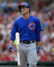 Sep 28, 2013; St. Louis, MO, USA; Chicago Cubs first baseman Anthony Rizzo (44) tosses his bat after striking out against St. Louis Cardinals starting pitcher Adam Wainwright (not pictured) during the first inning at Busch Stadium. Mandatory Credit: Jeff Curry-USA TODAY Sports