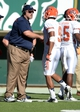 Sep 28, 2013; Fort Collins, CO, USA; UTEP Miners head coach Sean Kugler congratulates wide receiver Jordan Leslie (9) after scoring a touchdown reception against the Colorado State Rams in the third quarter at Hughes Stadium. Mandatory Credit: Ron Chenoy-USA TODAY Sports