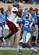 Sep 28, 2013; Durham, NC, USA;  Troy Trojans wide receiver Bryan Holmes (18) pulls in a pass in front of Duke Blue Devils cornerback Garett Patterson (24) at Wallace Wade Stadium. Mandatory Credit: Mark Dolejs-USA TODAY Sports