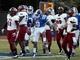 Sep 28, 2013; Durham, NC, USA;  Duke Blue Devils running back Josh Snead (9) celebrates a big gain against  the Troy Trojans at Wallace Wade Stadium. Mandatory Credit: Mark Dolejs-USA TODAY Sports