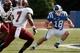 Sep 28, 2013; Durham, NC, USA; Duke Blue Devils quarterback Brandon Connette (18) scrambles in the backfield against the Troy Trojans at Wallace Wade Stadium. Mandatory Credit: Mark Dolejs-USA TODAY Sports