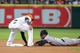 Sep 28, 2013; Houston, TX, USA; New York Yankees center fielder Curtis Granderson (14) is out at second base on an attempted steal as Houston Astros shortstop Jonathan Villar (6) applies the tag at Minute Maid Park. Mandatory Credit: Troy Taormina-USA TODAY Sports