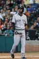 Sep 28, 2013; Houston, TX, USA; New York Yankees shortstop Eduardo Nunez (26) reacts after striking out during the first inning against the Houston Astros at Minute Maid Park. Mandatory Credit: Troy Taormina-USA TODAY Sports