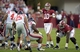 Sep 28, 2013; Tuscaloosa, AL, USA; Alabama Crimson Tide quarterback A.J. McCarron (10) calls out the defense against the Mississippi Rebels during the second quarter  at Bryant-Denny Stadium. Mandatory Credit: John David Mercer-USA TODAY Sports