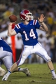Sep 28, 2013; Dallas, TX, USA; Louisiana Tech Bulldogs quarterback Ryan Higgins (14) drops back to pass against the Army Black Knights during second half at the Cotton Bowl Stadium. The Black Knights defeated the Bulldogs 35-16. Mandatory Credit: Jerome Miron-USA TODAY Sports