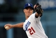 Sep 28, 2013; Los Angeles, CA, USA;   Los Angeles Dodgers starting pitcher Zack Greinke (21) in the first inning of the game against the Colorado Rockies at Dodger Stadium. Mandatory Credit: Jayne Kamin-Oncea-USA TODAY Sports