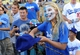 Sep 28, 2013; Los Angeles, CA, USA;   Drew Biernot, 10, from Los Angeles hopes for an autograph before the game between the Los Angeles Dodgers and the Colorado Rockies at Dodger Stadium. Mandatory Credit: Jayne Kamin-Oncea-USA TODAY Sports