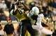 Sep 28, 2013; Nashville, TN, USA; Vanderbilt Commodores wide receiver Jordan Matthews (87) catches a touchdown pass against Alabama-Birmingham Blazers cornerback Jimmy Jean (7) during the second half at Vanderbilt Stadium. The Commodores beat the Blazers 52-24. Mandatory Credit: Don McPeak-USA TODAY Sports